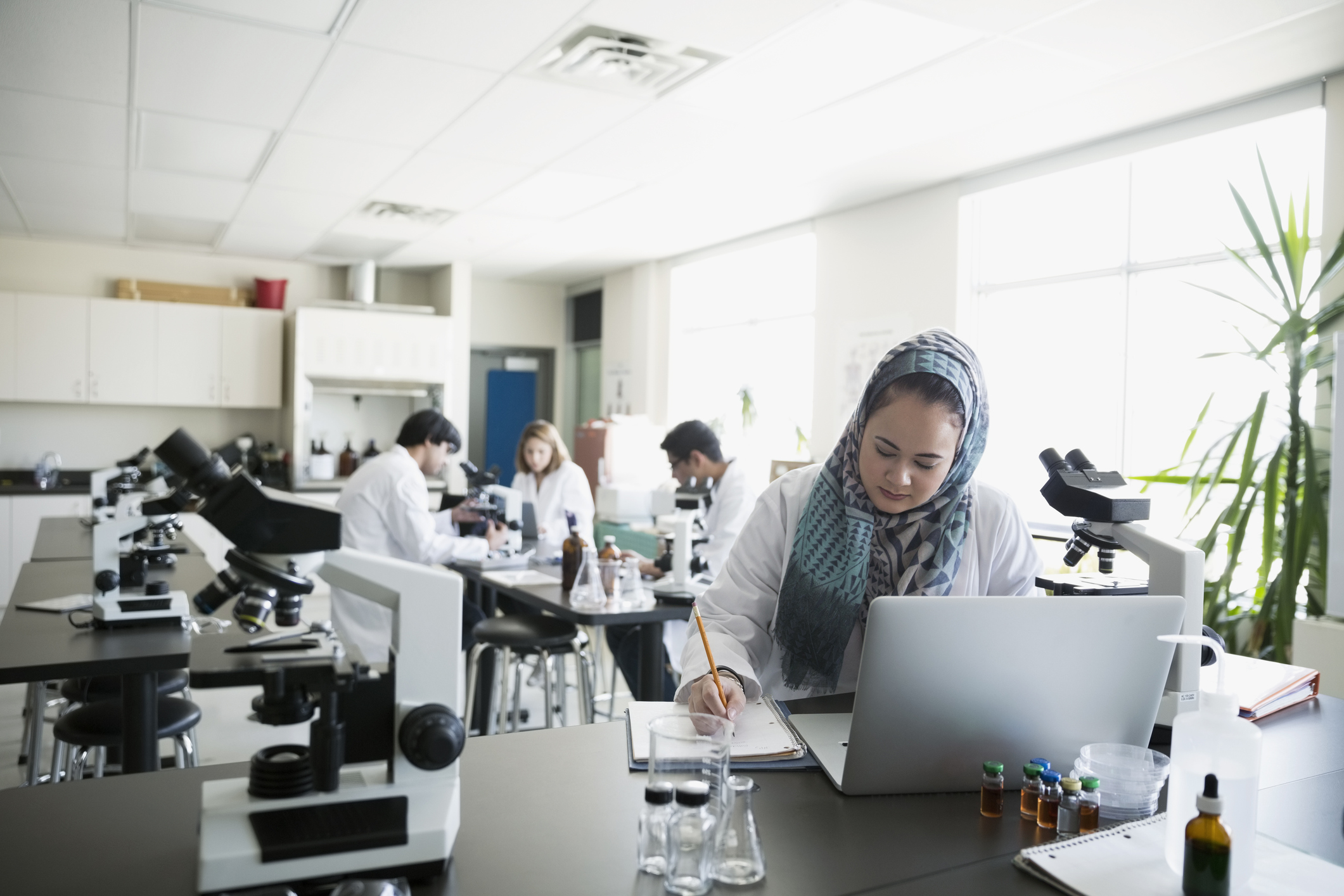 Young professionals working in a laboratory