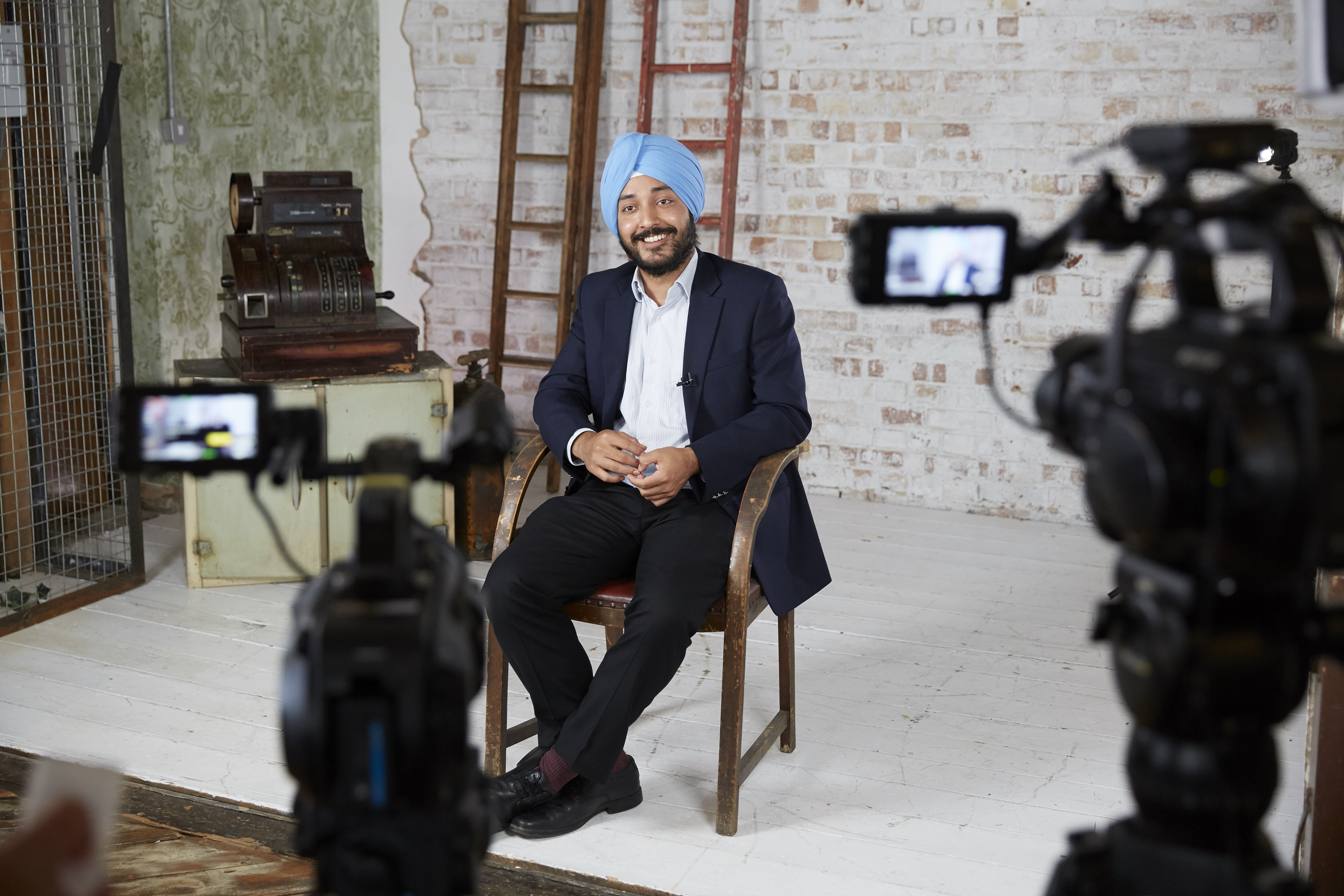 Sikh engineer doing an interview for IET.tv