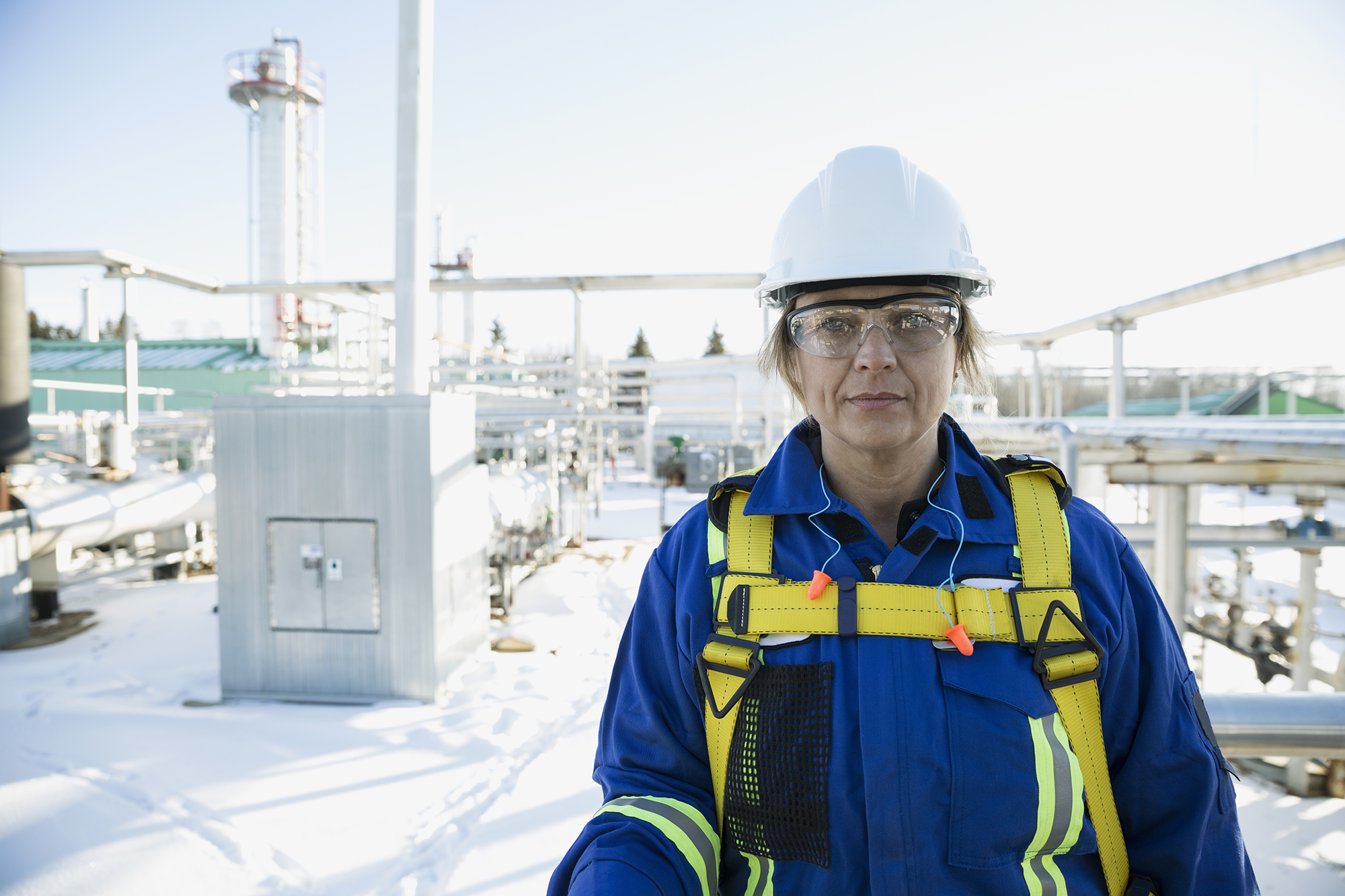 Female engineer at a gas plant