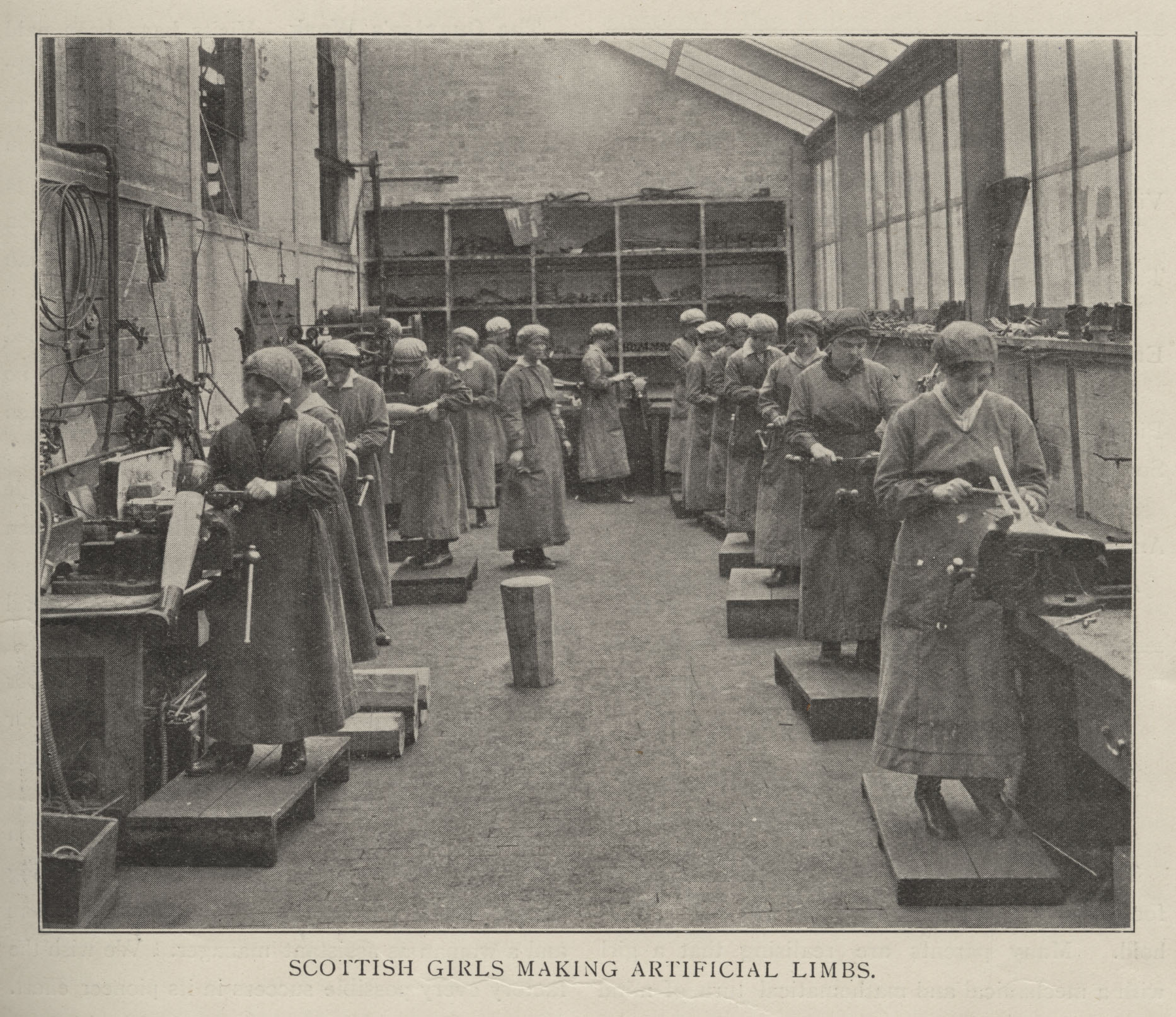 Image from The Woman Engineer Journal: Scottish girls making artificial limbs September 1920.