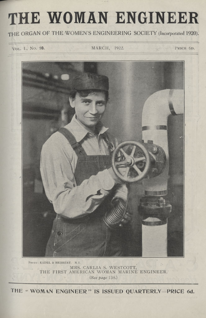 Mrs Westcott, marine engineer, on the cover of The Woman Engineer journal, March 1922