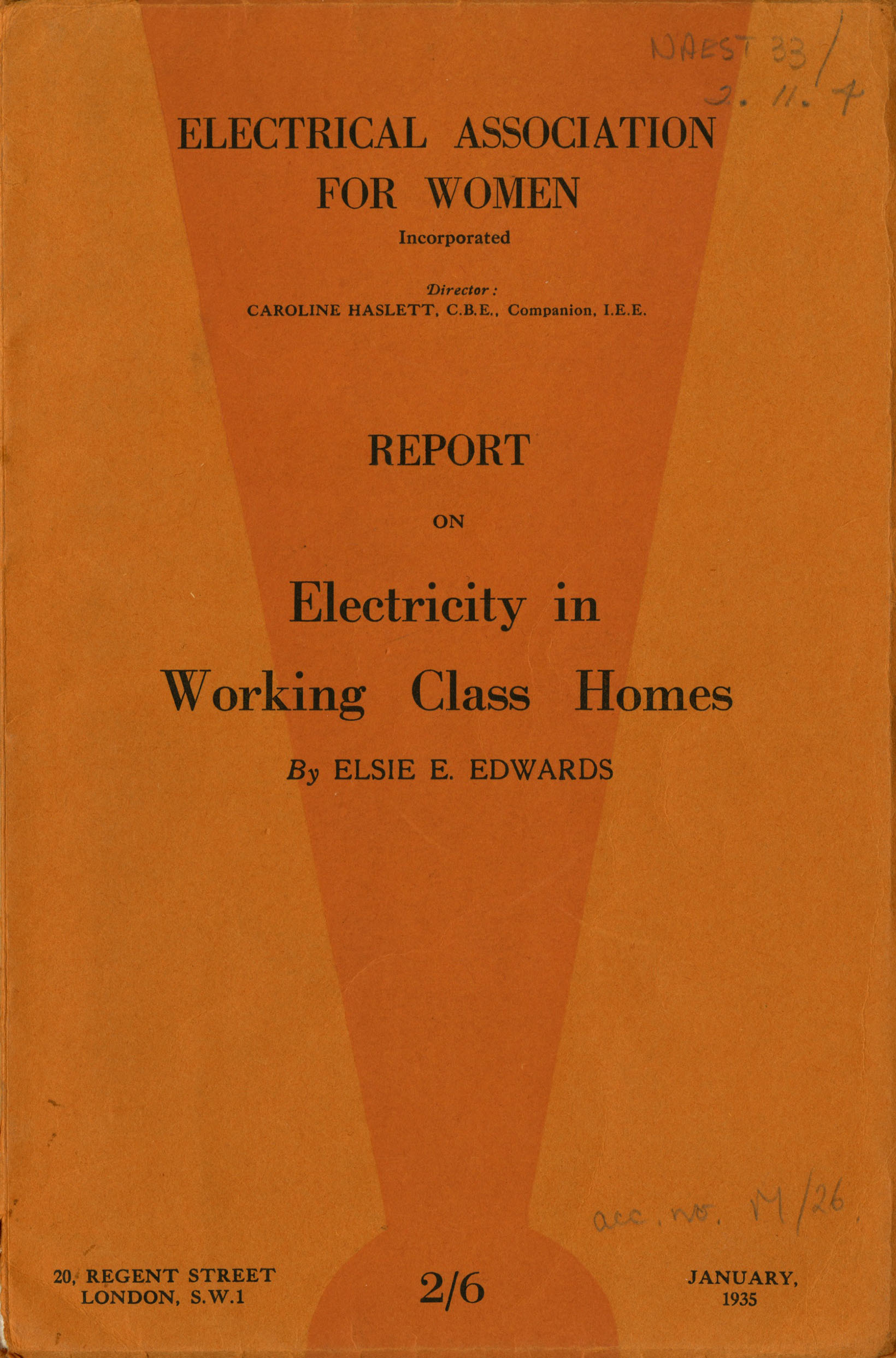 EAW 'Report on electricity in working class homes', by Elsie E Edwards 1935 IET Archives ref NAEST 33/02/11/04.