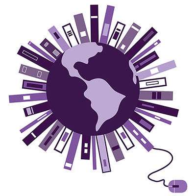 A purple planet with books protruding from it - the Virtual Library logo